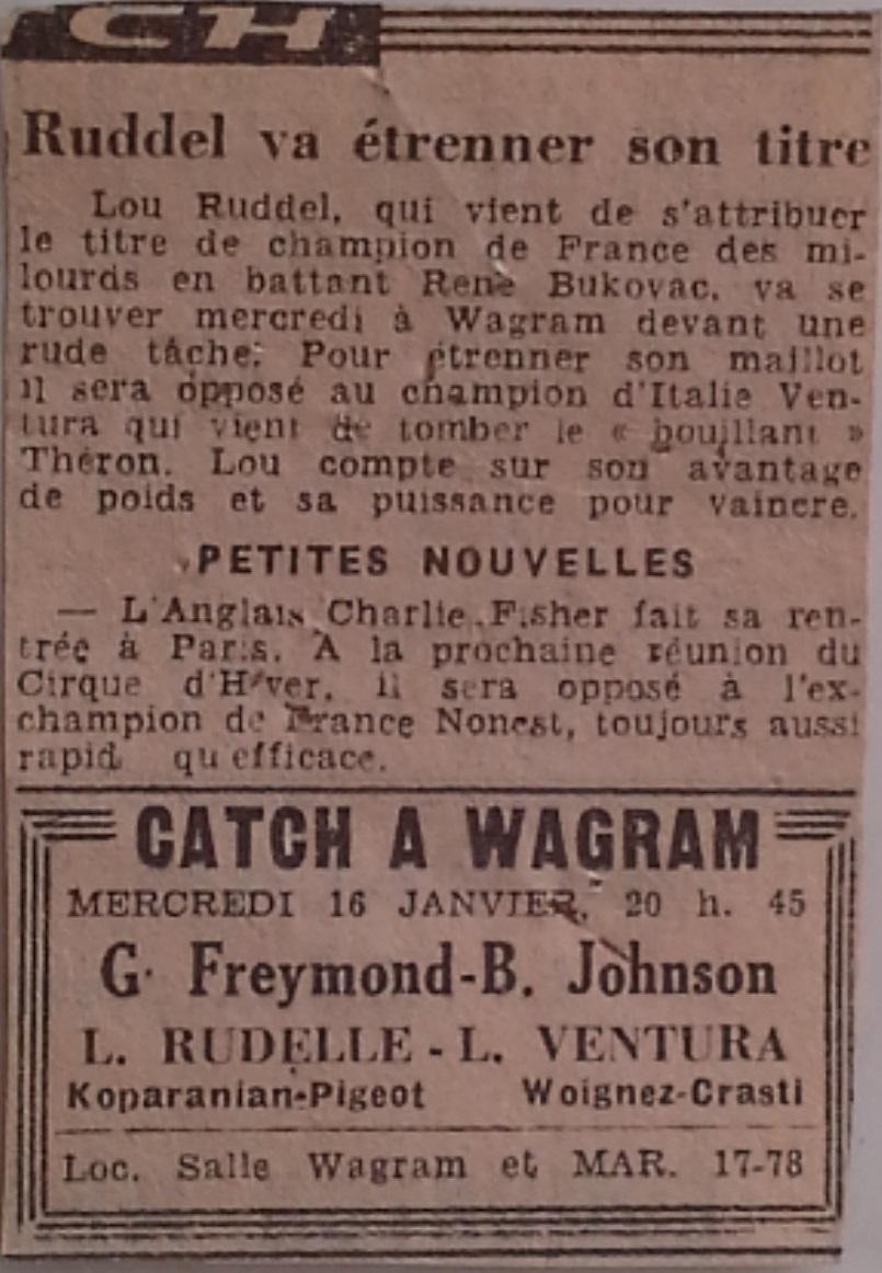 Lou Rudelle contre Lino Ventura 16 janvier 1946